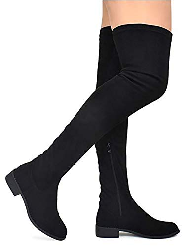 MVE Shoes Women's Fashion Comfy Vegan Suede Block Heel Side Zipper Thigh High Over The Knee Boots, Black Size 7.5