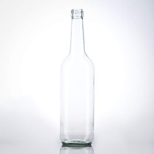 6 Leere Glasflaschen 700 ml 0,7 Liter mit PP28 Schraubverschluss Gold – verwendbar als Schnapsflaschen, Likörflaschen 700ml, Leere Weinflaschen, Essig und Öl Flaschen Set