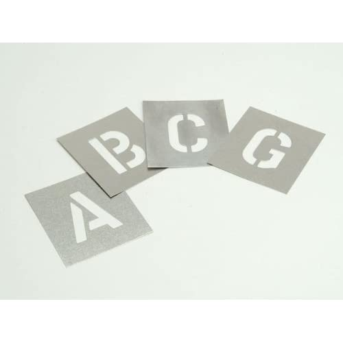 "Stencils Set of Zinc Stencils 2/"" 50mm Figures Numbers 0-9 in Storage Wallet"