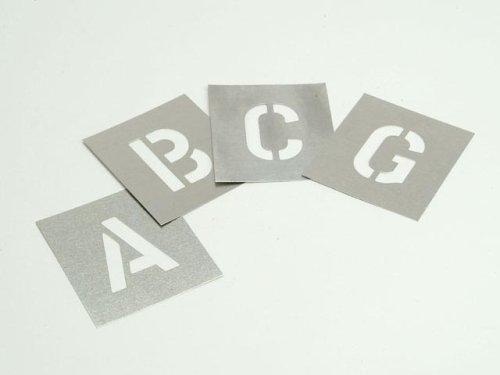 Stencils - Set di tavolette zincate, Motivo: Lettere dell'alfabeto