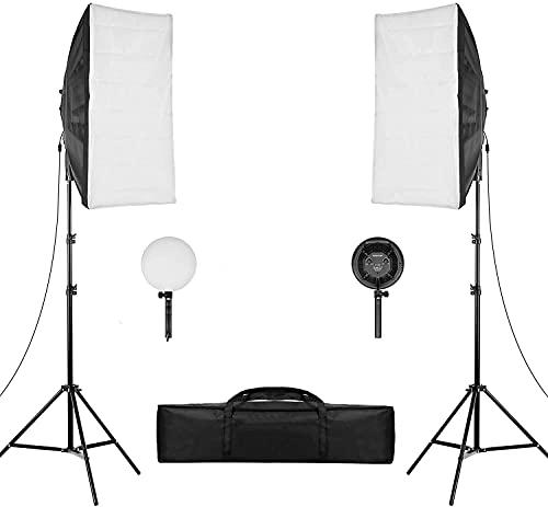 Andoer Softbox kit, LED Video Luce con Softbox Lightbox 20 x 28 pollici, Lampadina LED Dimmerabile 45 W 2 Temperature di Colore, per Ritratti in Studio, Fotografia Prodotti, Foto di Moda, Video, ecc