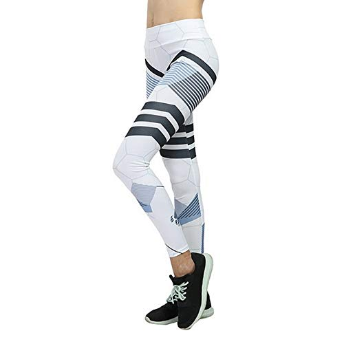 Mdsfe Gestreepte bedrukte leggings slanke fitness vrouwelijke zwarte mesh yogabroek fitnessstudio loopt hoge taille leggings fitnessbroek Small StyleA-wit-A33