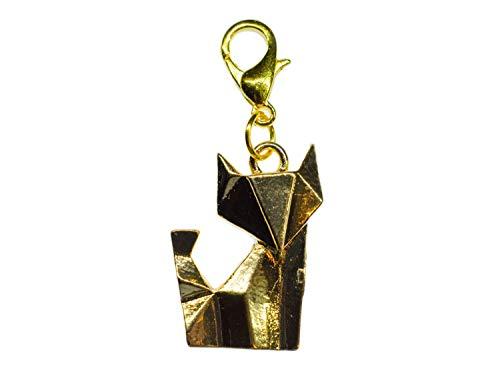 Miniblings Fuchs Charm Zipper Pull Senbazuru Tier Katze Origami golden - Handmade Modeschmuck I Kettenanhänger vergoldet - Bettelanhänger Bettelarmband - Anhänger für Armband
