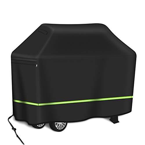 Hailey&Elijah 2020 reflektierende Streifen-Grillabdeckung, Grill der Q100 / Q1000-Serie, 600D Oxford-Stoff (147 x 61 x 122 cm) wasserdicht, reißfest, UV-Schutz (schwarz)