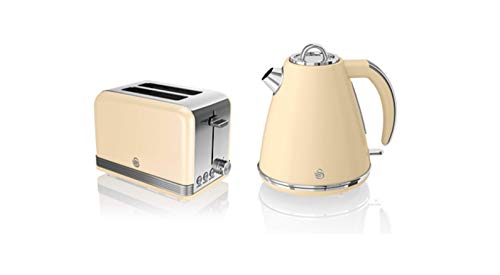 Swan, STP7040CN, Retro 1.5L Jug Kettle & 2 Slice Toaster, Stainless Steel Body, 3kw, Slide Out Crumb Tray, Auto-Centering (Cream)