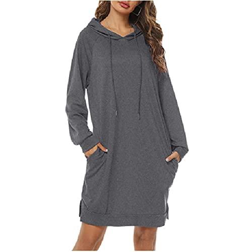 GAOHONGMEI Sudaderas con capucha para mujer Sudadera de manga larga con capucha para mujer Vestidos sueltos casuales largos con bolsillo gris-M