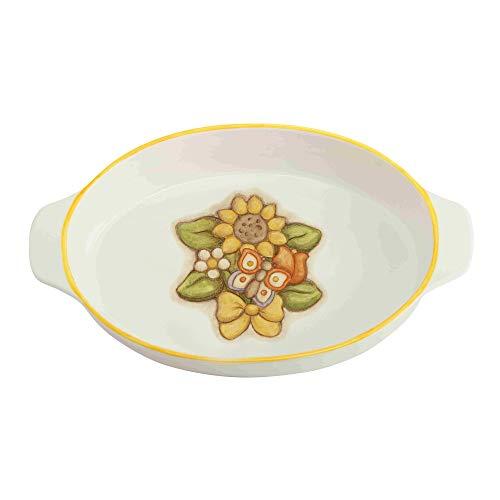 THUN - Teglia Forno Ovale Decorata con Girasole e Farfalla, Adatta Anche a Microonde - Accessori Cucina - Linea Country - Formato Grande - Porcellana - 340,5 x 24,5 x 7 cm