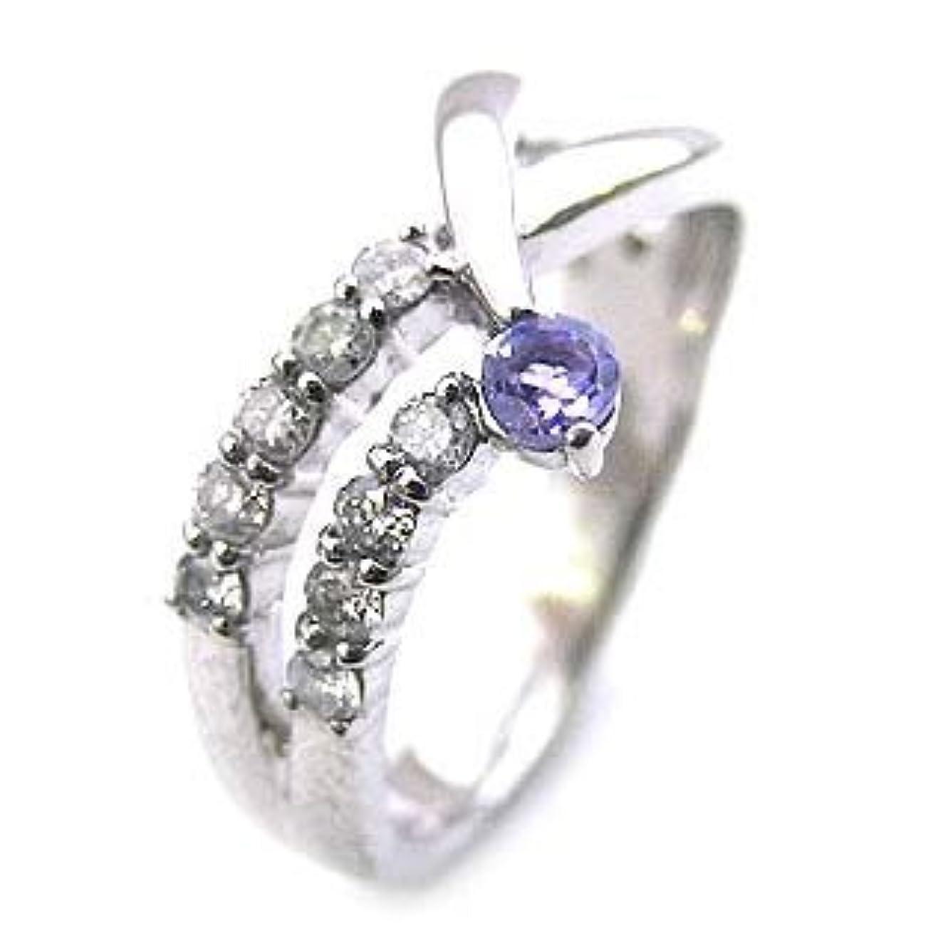あいまいサイレン手荷物10個のダイヤモンドで記念 プラチナ タンザナイト?ダイヤモンドリング #14