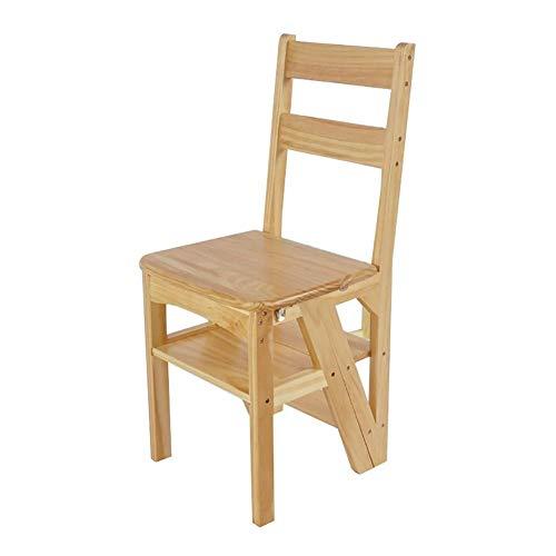 Azyq Hartholz Ladderback Chair, Klappstufenleiter Holzleiter Stuhl für Ersatzbirne, Naturholz