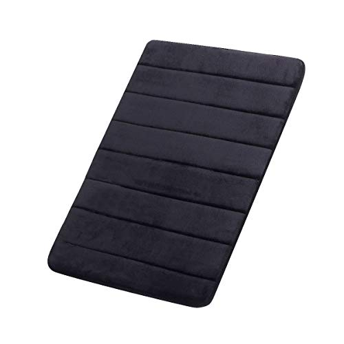 "FindNew Non-Slip Soft Microfiber Memory Foam Bath Mat,Toilet Bath rug,with Anti-Skid Bottom Washable Quickly Drying Bathroom mats (16"" X 24"", Black)"