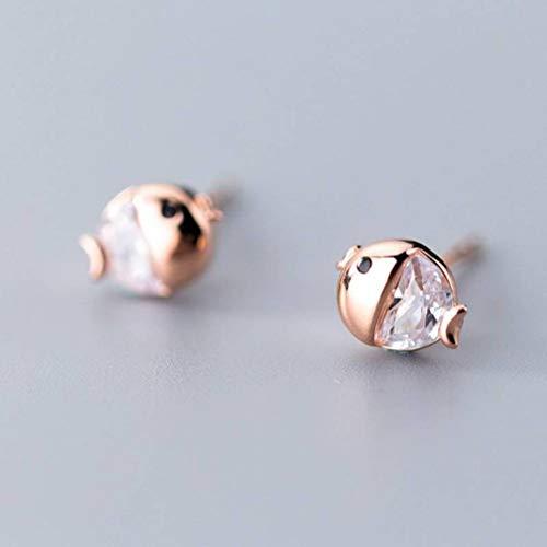 WOZUIMEI S925 Pendientes de Plata Estilo de Japón Y Corea Del Sur Moda Linda Mujer Pescado Solo Diamante Pendientes Joyería Estilo Orejas Pequeñas Joyeríaoro rosa, Plata 925