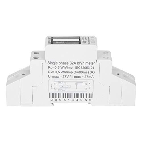 Agatige Medidor monofásico, disyuntor DDS1891 2P LCD Electricidad Carril Energía Voltaje Amperímetros...