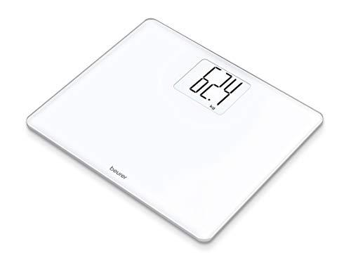 Beurer GS-340-XXL - Báscula de vidrio, pantalla XXL 6,6cm, display LCD, plataforma 35 x 30 cm, vidrio seguridad, pesa hasta 200kg / 100 gr, función auto tara, blanco