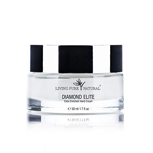 Living Pure Natural Diamond Elite Crema de manos enriquecida extra para cuidado de la piel de lujo, vegano, 50 ml