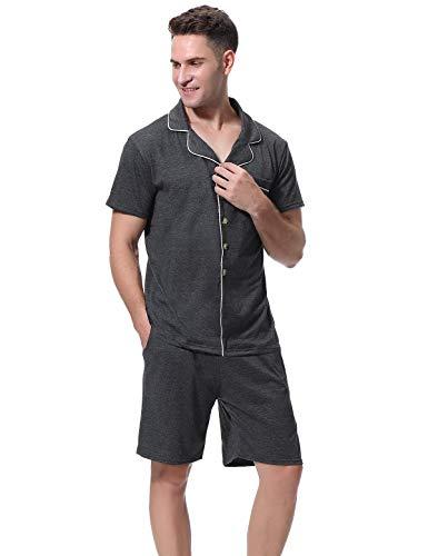 Abollria Herren Schlafanzug Pyjama Kurz Baumwolle Nachtwäsche Baumwolle Schlafanzüge Anzug Hausanzug Zweiteiliger mit Shorty Top & Shorts mit für Sommer