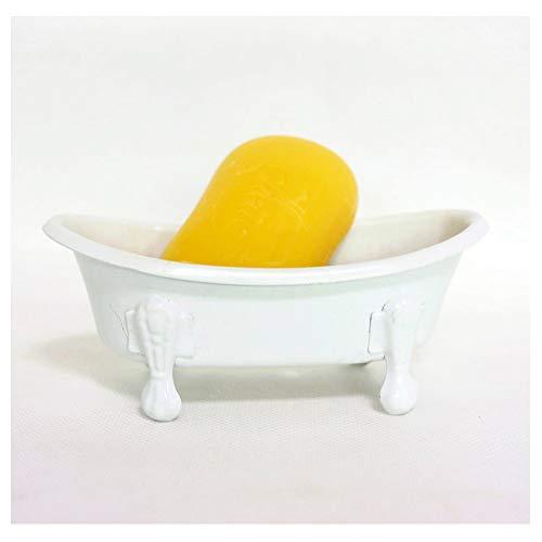 "TenFuju 5.5"" White Clawfoot Bathtub Metal Tube Decortative Soap Dish Holder Shower Bar Soap Tray for Bathroom or Kitchen,1 Pack"