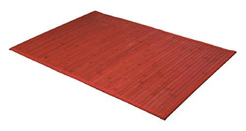Carpemodo Bambusmatte Badvorleger Badeteppich Bambusteppich/Farbe: Rot/Größe: 50x80 cm/Unterseite rutschhemmend/mit Textilband eingefasst