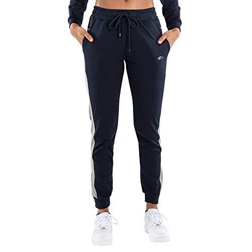 SMILODOX Damen Jogginghose Melessa - Lange Hose im Regular fit mit mid Waist Bund und Tunnelzug, Größe:L, Color:Blau/Grau
