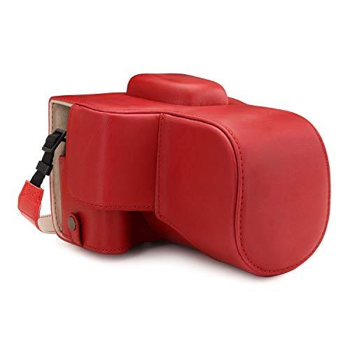 MegaGear MG1610 Capa de couro para câmera Ever Ready compatível com Canon EOS Rebel T7 (18-55 mm), 2000D (18-55 mm) - Vermelho