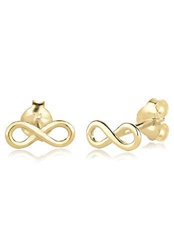 Elli PREMIUM Ohrringe Damen Infinity Trend Blogger Filigran in 375 Gelbgold