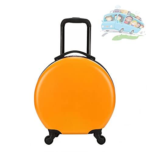 Equipaje Infantil Redondo, ABS Impermeable, Resistente Al Desgaste Y A La Compresión Equipaje De Mano Con Carrito Para Niños, Equipaje De Gran Capacidad Con Ruedas Universales De 360 °,Naranja