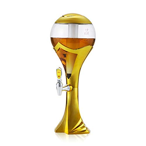 ZoSiP Mini Dispensador de Cerveza Torre Forma Colorido Copa del Mundo Que Brilla Columna Cerveza Torre Dispensador 1,5 L 2L 3L Cerveza con Luces LED Libres (Color : Gold, Size : 1.5L)