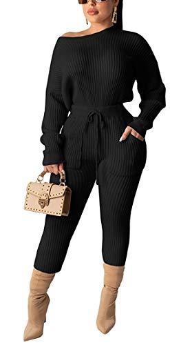 Molilove - Suéteres de dos piezas para mujer, de dos piezas, punto en canalé, 1# Negro, XL