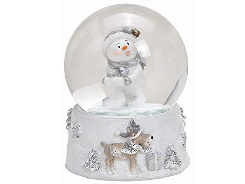 meindekoartikel Schneekugel Schneemann mit Motiv Sockel mit schönen Details aus Poly und Glas - Winterdeko - tolles Mitbringsel (weiß) (mit Geschenk, Höhe 8 cm)