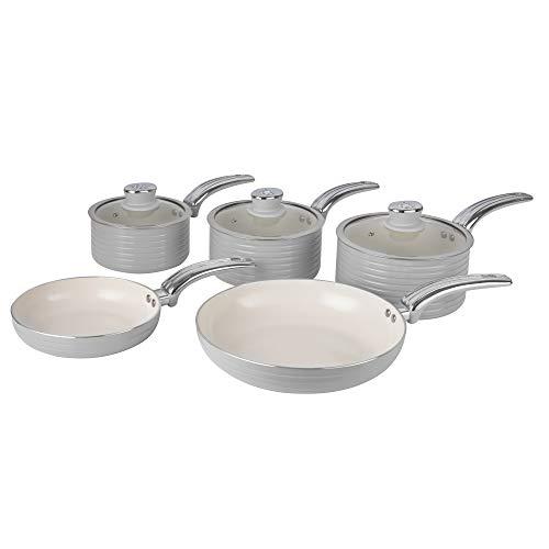 Swan SWPS5020GRN Batería de Cocina Antiadherente, Cerámica, Incucción, 2 Sartenes 20/28 cm, 3 Cacerolas 16/18/20 cm, Gris, Metal, 31.50 x 48.00 x 15.00 cm, 5 Set