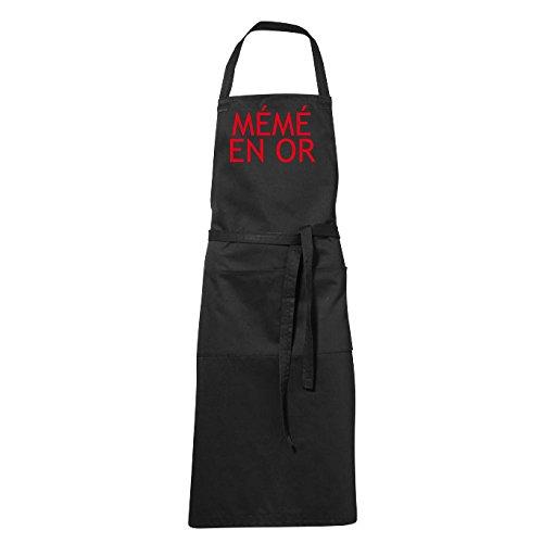 stylx design Tablier humoristique de cuisine noir mémé en or