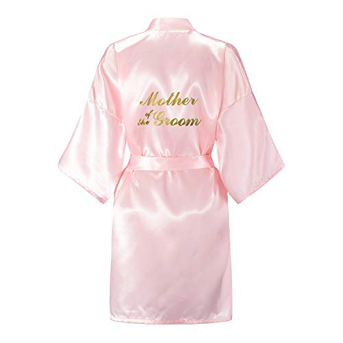 EPLAZA Bride Bridesmaid Robes for Wedding Bridal Party Women Short Solid Color Silky Satin Robe with Gold Glitters Kimono One Size ( Pink, Mother of the Groom)