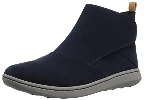Clarks Women's Step Move Up Ankle Boot, Navy Synthetic, 110 W US
