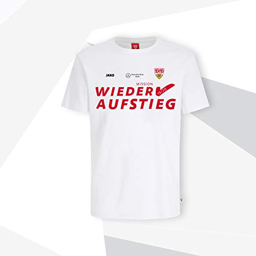 VfB Stuttgart T-Shirt Weiss rot Aufstieg Wiederaufstieg Saison 2019/2020 offizielles Lizenzprodukt Verschiedene Größen (S)