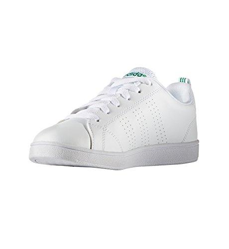 adidas Kids' VS Advantage Clean Sneaker, White/White/Green, 7 Medium US Toddler