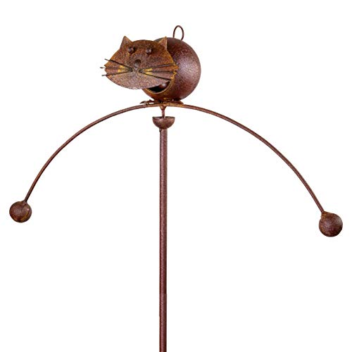 CIM Edelrost Gartenstecker - Katze Gartenpendel - Abmessung: 47 x 25 x 15 cm - Gesamthöhe: 110cm - Attraktive Garten-Outdoor-Dekoration