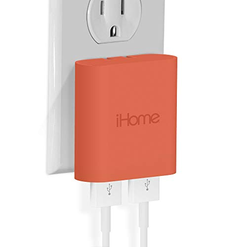 iHome AC Pro 3.4 Amp 2-Port USB Wall Charger, Flat Foldable Plug for iPhone 12/12 Pro/12 Pro Max/ 11/11 Pro/11 Pro Max/Xs,/Xs Max/XR/X/8/Airpods, iPad, Samsung Galaxy Android & More, Coral