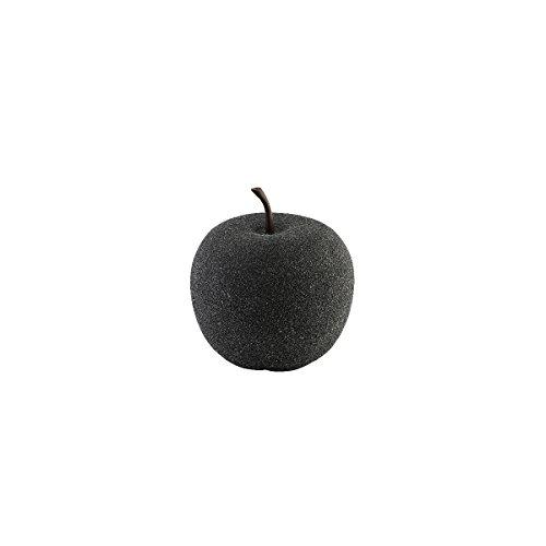 greemotion 130488 Dekoapfel, Obst Dekoration, außen/innen Wetterfeste Gartendeko Früchte, Stein Optik, Klein, Schwarz, 33,5 x 33,5 x 35 cm