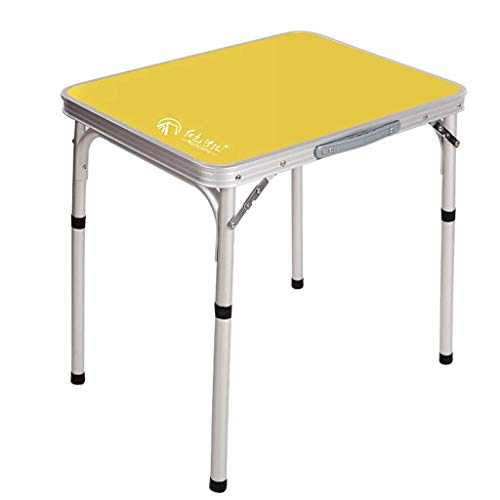 FRF Klapptisch- Tragbarer Klapptisch aus Aluminiumlegierung im Freien, Picknick-Grilltisch, einfacher Computertisch (Farbe : Gelb, größe : 60x45x58.5cm)