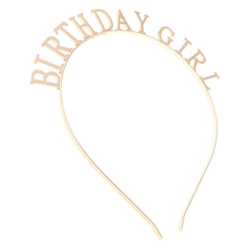 SKYVII Minimalistas mujeres aleación de metal delgada diadema ahueca hacia fuera cumpleaños niña letras aro de pelo pulido metal partido corona foto accesorios