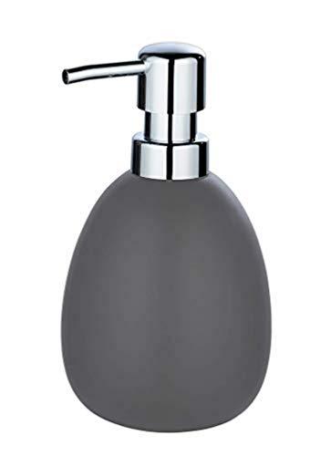 WENKO Seifenspender Polaris, nachfüllbarer Seifendosierer für Flüssigseife und Lotion aus hochwertiger Keramik, ideal für Badezimmer & Gäste-WC, 10 x 16,5 x 9,4 cm, Füllmenge 390 ml, Grau matt