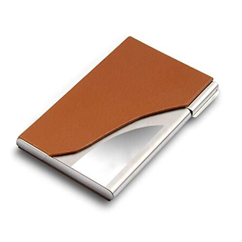 Cajas para tarjetas de visita Estuche para tarjetas de visita de hombres y mujeres de negocios, cuero, acero inoxidable, soporte para tarjetas de visita de metal, letras personalizadas con láser grati