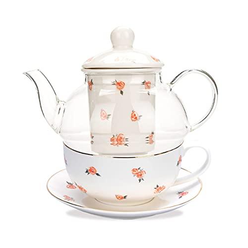 MDZF SWEET HOME Tetera de cristal borosilicato con colador extraíble de hueso chino, juego de té de 4 piezas