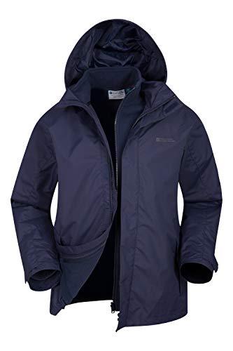 Mountain Warehouse Fell - Giacca Uomo 3 in 1, Resistente all'Acqua - Cappuccio Regolabile, Pile Interno Removibile - Calda, Ottima per Passeggiate e Viaggi, Invernale Blu Navy XL