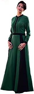 """""""فستان طويل من هيرا نمط كلوش خامة كريب تصميم مقلم أكمام كبك ازرار من الأعلى مقاس 38,40,46,48"""""""