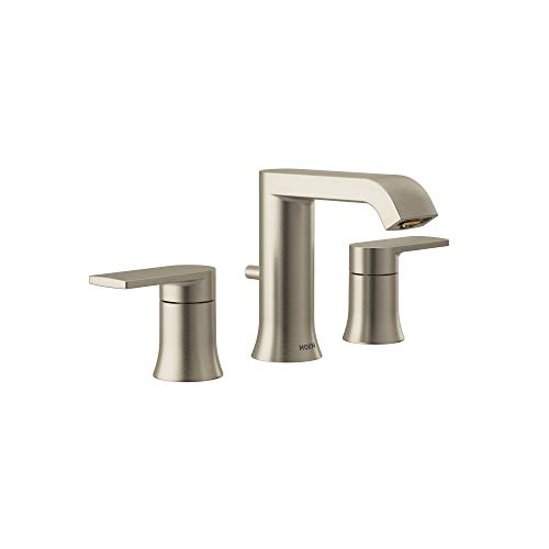 Moen T6708BN Genta Two Handle Widespread Modern Bathroom Facuet Valve Required, Brushed Nickel (BN)