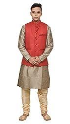Mag Mens Copper Gold silk Kurta Gold Churidhar With Red Joot Waistcoat