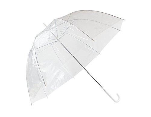 Invero Transparenter kuppelförmiger winddichter Regenschirm mit weißem C-Griff – ideal für Reisen, Hochzeit, Brautparty, Fotoshooting und mehr – Durchmesser geöffnet: 83 cm