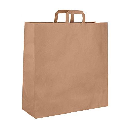 goodsforbusiness 150 Papiertragetaschen in Braun | Papiertaschen Tragetaschen Kuchentragetasche Henkeltaschen Tortentragetasche Tüten Papiertüten recycelbar (45 x 17 x 48,5 cm)