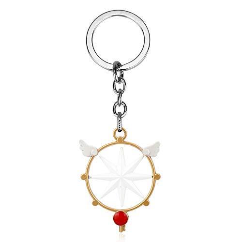 AMITD Schlüsselbund Schlüsselring Japanische Anime Sakura Cullo Zauberstab Cane Anhänger Schlüsselbund Stern Stick Zepter Modell Star Staff Schlüsselanhänger Schlüsselanhänger