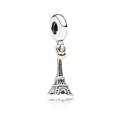 MiniJewelry Women Eiffel Tower Dangel Charm for Bracelets fits Pandora Charms Bracelets Love Heart Paris France Landmark Sterling Silver Charm